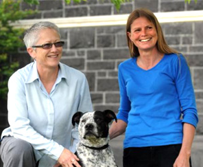 Photograph of Ros MacGill and Jo Pollard with Punky. Photo courtesy Otago Daily Times.